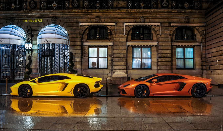 lamborghini, yellow, aventador, cars, car, оранжевый, vehicle, фон, best,