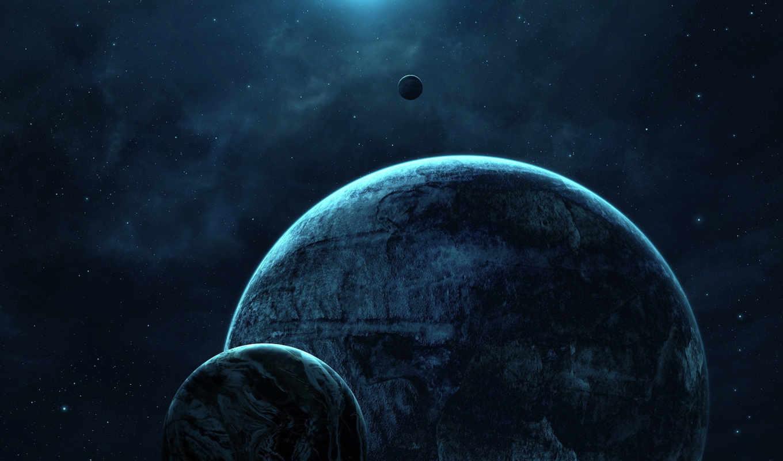 бесконечность, луны, планета, звезды, свет, картинка,