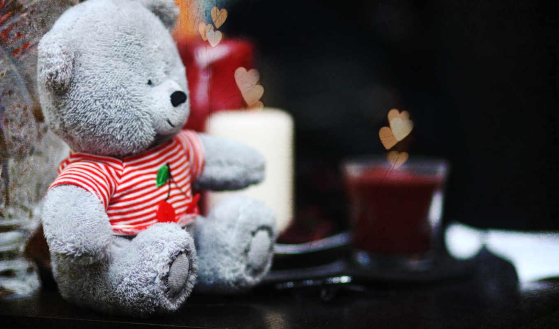 teddy, мило, сердечки, свечи, мишка, دباديب,