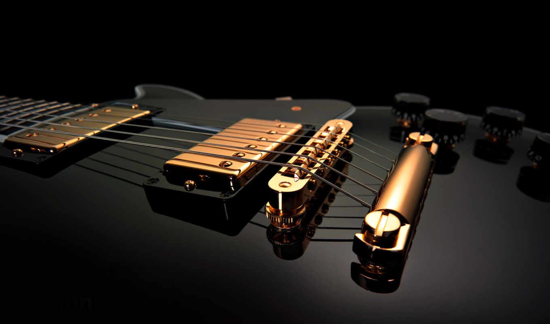 guitar, music, black, струны, инструмент, макро, зеркало, гибсон, черная,
