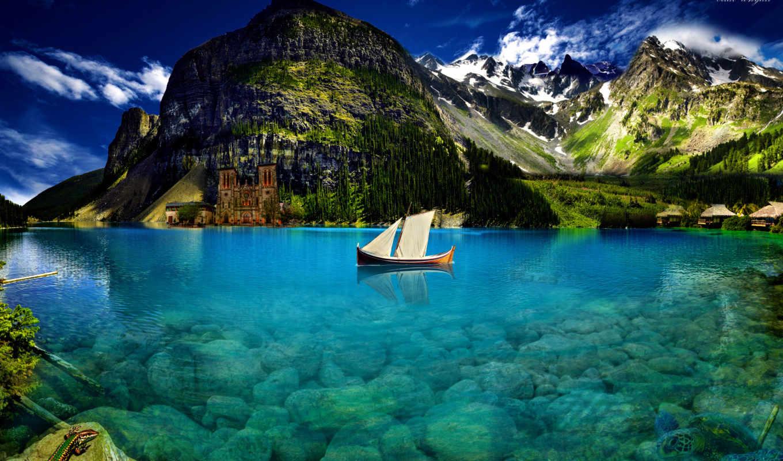 лодка, горы, ящерица, озеро, небо, облака, вода, парус,