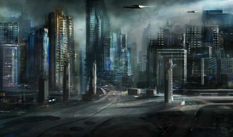 город, art, будущее, корабли, cloudminedesign, здания,