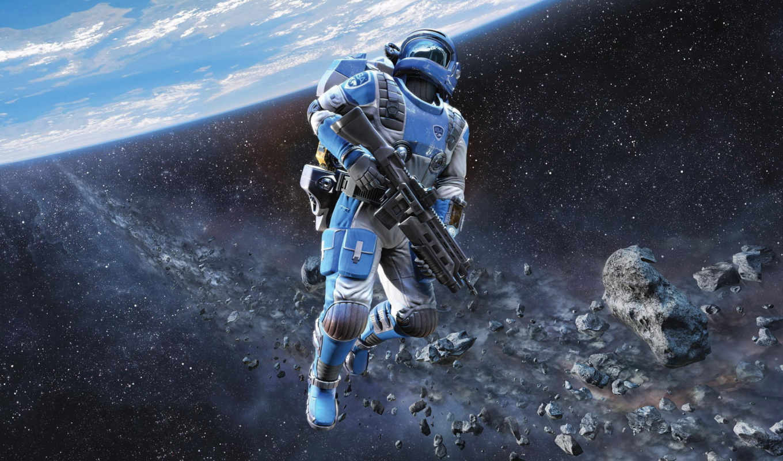 kosmos, скафандр, soldat, винтовка, горизонт, shattered, planeta,