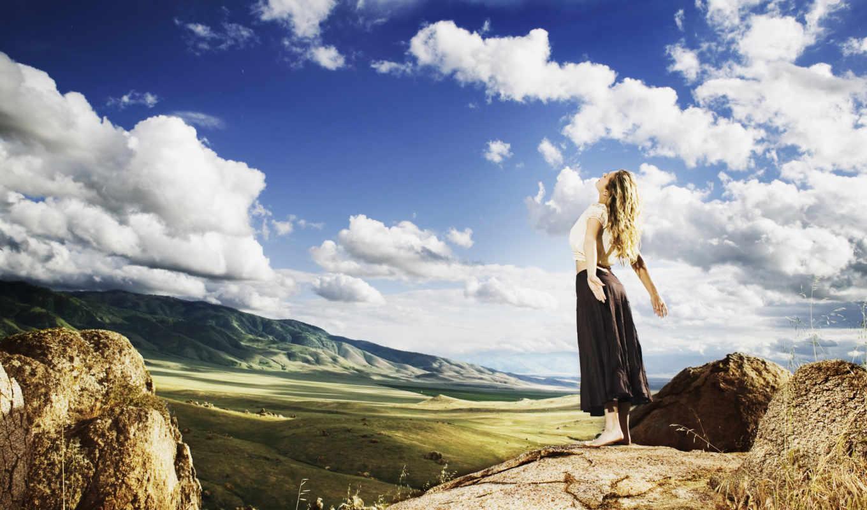 devushka, солнце, priroda, настроение, небо,