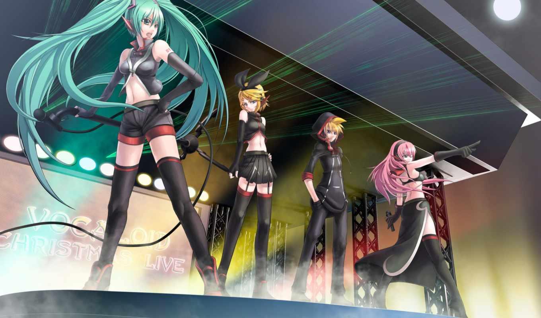 miku, anime, вокалоид, музыка, рин, лука, лен, concert,