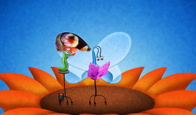 гусеница, цветок, крылья, бабочка, funny, рисунки, арт,