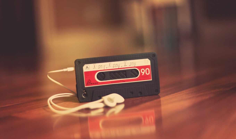 плеер, кассета, ретро, наушники, стол, древесина, блеск