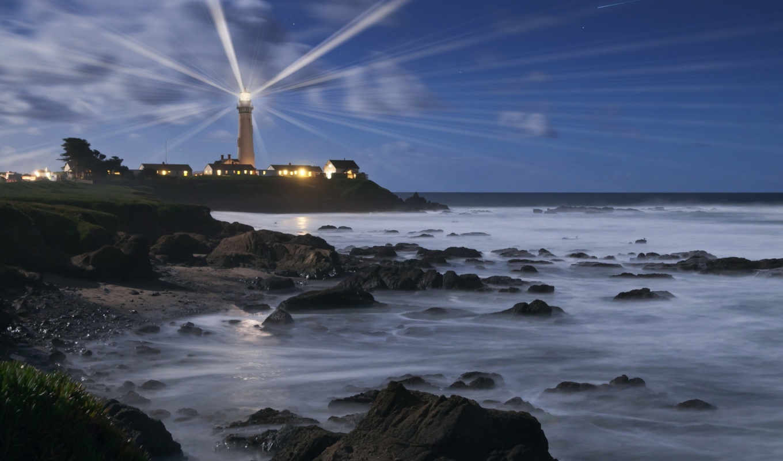 маяки, пейзажи, красивый, море, берег, широкоформатные, water, картинка, ocean, ночь, lighthouse,