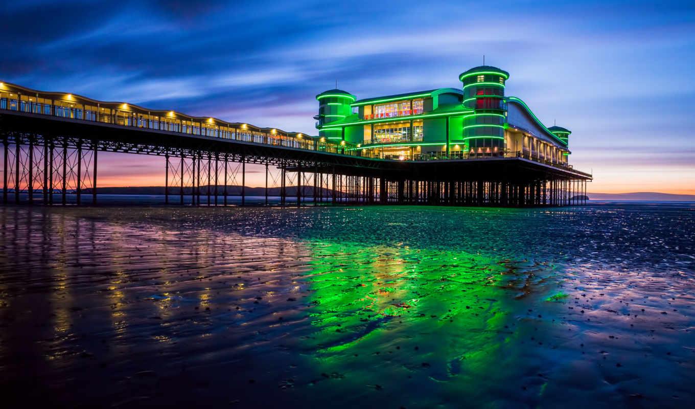 pier, море, закат, берег, огни, вечер, небо, англия,