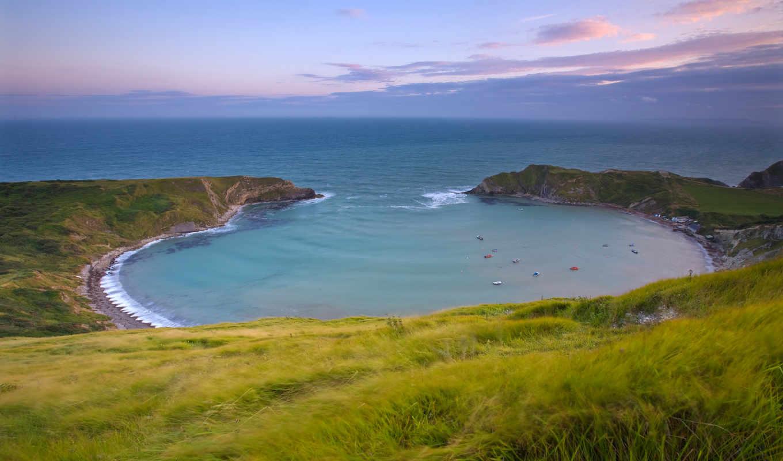 море, небо, трава, берег, bay, картинка, distance,