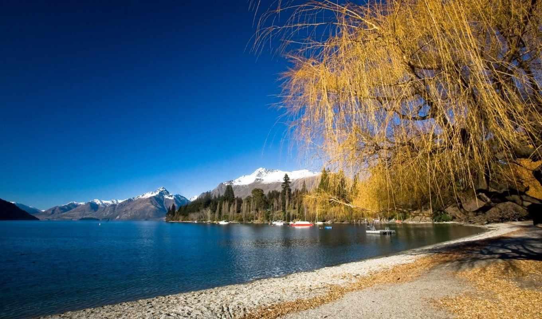 ,осень, горы, река,небо