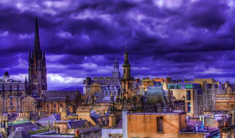 красочный, город, мир, сверху, картина, вид, здания, крыши, ночь, изображение,