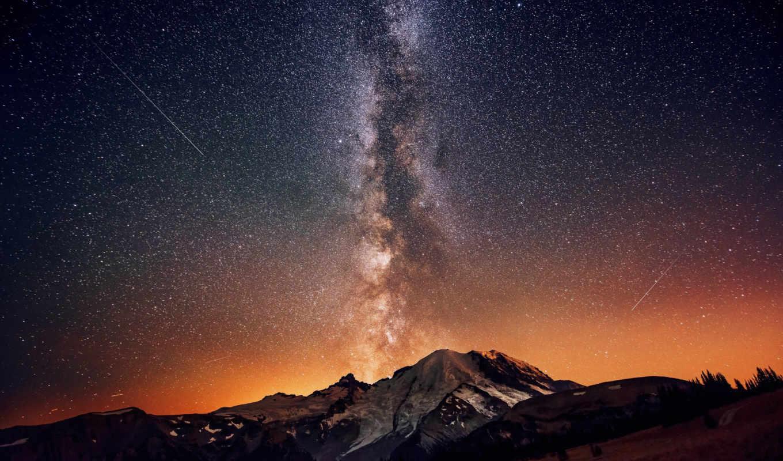 млечный, way, небо, stars, night, ночное, звезд, картинку,, горы,звезды, rainier,