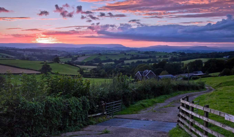 дорога, пейзаж, закат, мост, картинка,