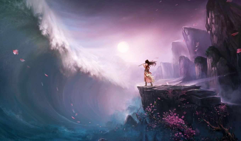 tsunami, волна, скалы, флейта, девушка, дерево, art,
