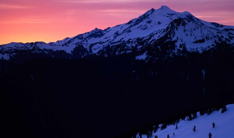 закат, peak, glacier, washington, ни, природы, красивые, озеро,