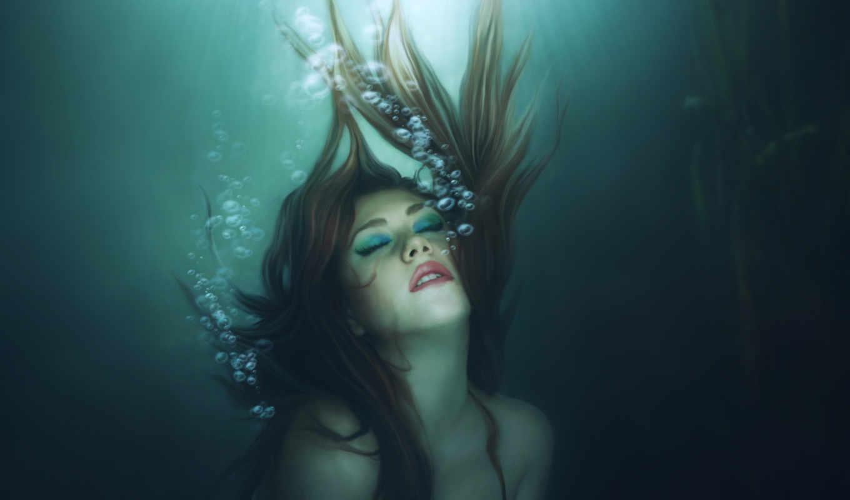 под, водой, девушка, пузыри,