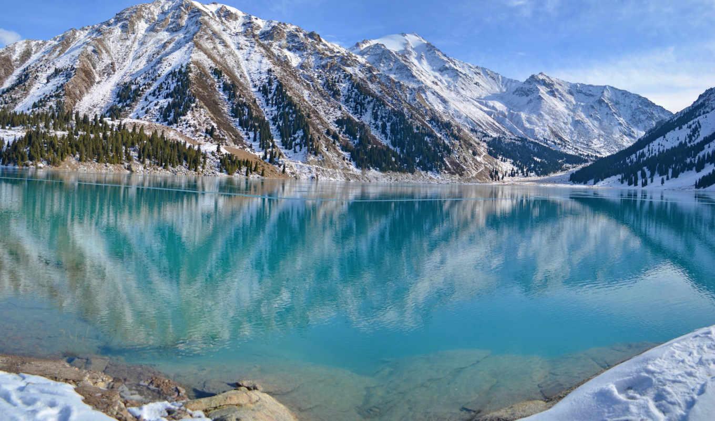 горы, ozero, большое, алматинское, priroda, небо,