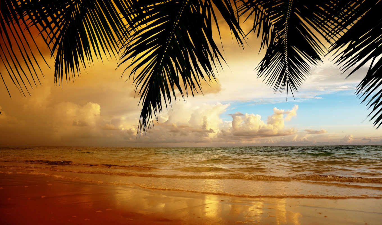 пляж, zakat, пейзаж, oblaka, небо, priroda, песок,