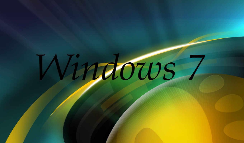 windows, se7en, лого, фон, желтый, синий