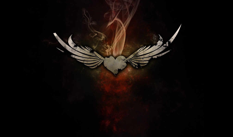 сердце, крылья, дым, wings, смотрите, love, black, картинка, computer, icon, with,