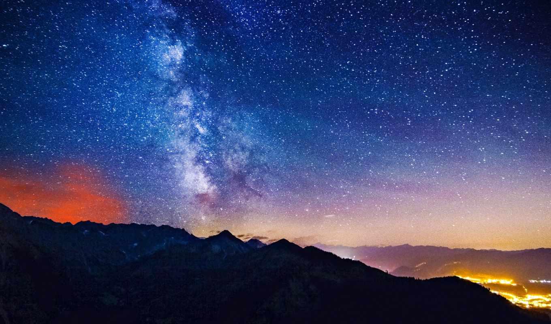 путь, млечный, dawn, stars, звезды, ландшафтов, landscapes, германия, бад, бавария, хинделанг,,