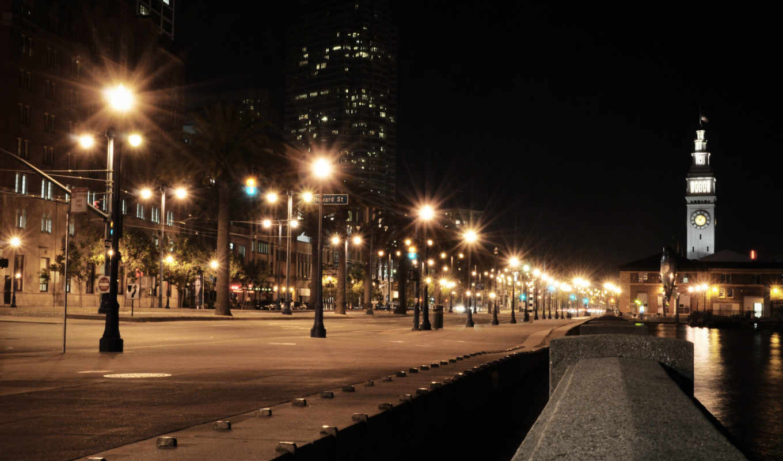 cidade iluminada, река, часовая башня, фонари, улица,
