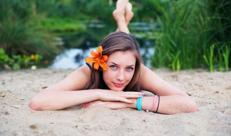 девушка, cute, пляж,