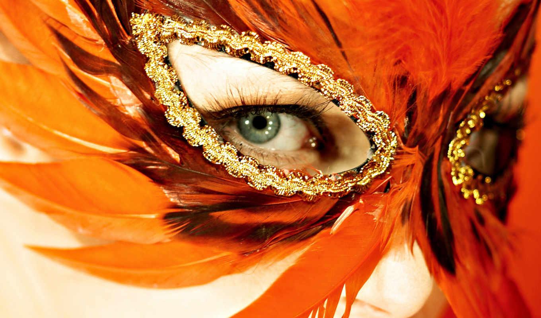 глаз, маска, перьев, перья, глаза,