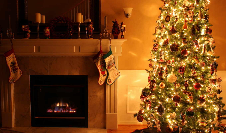 год, new, камин, christmas, праздник, дерево, игрушки, бра, комната, картинка,