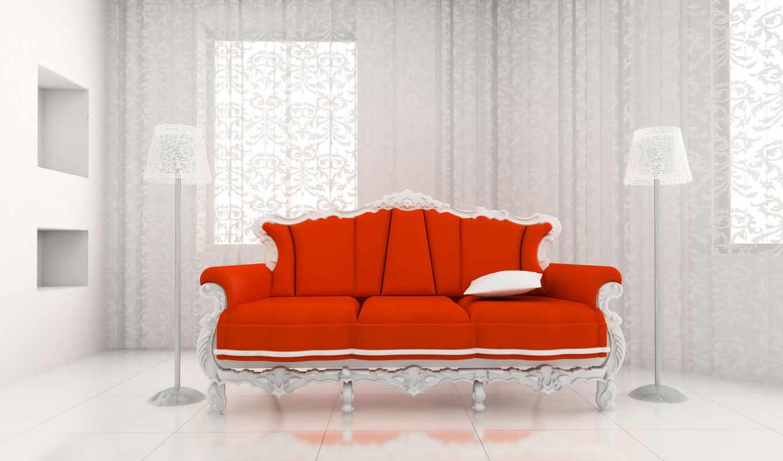 диван, red, белая комната,