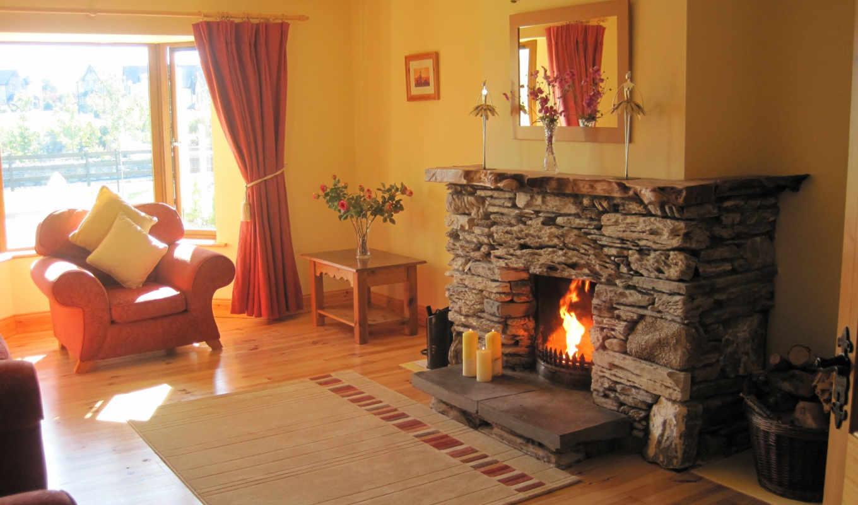 диван, stil, каминь, мягкая, комната, мебель, dom, комната, interer, dizain, kartinka,