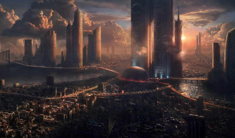 город, будущего, графика, oblaka,