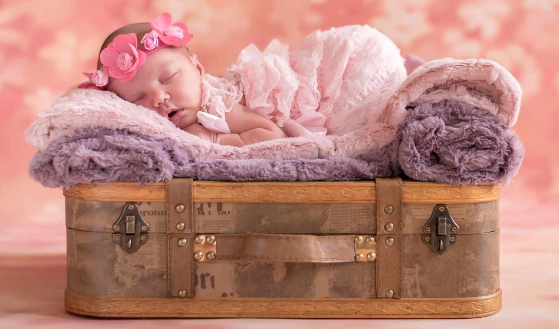 девушка, baby, спать, венок, спящая,