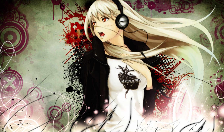девушка, блондинка, аниме, обои, anime, наугшники,
