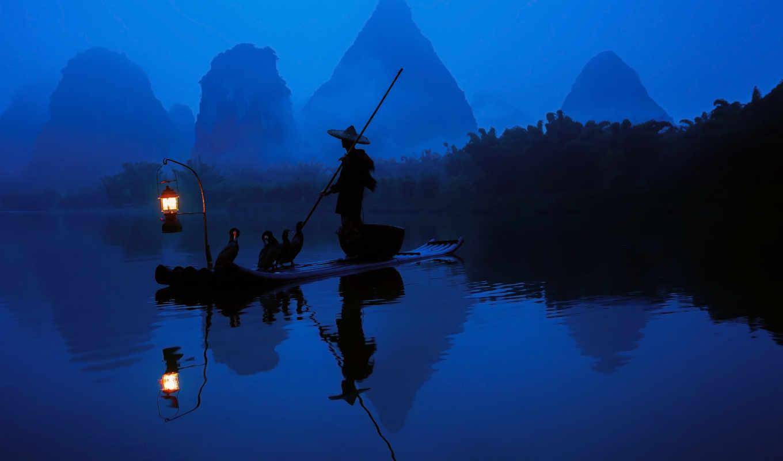 фонарь, утро, свет, река, бакланы, китай, лодка, рыбак, отражение, вода, лес, people, early,