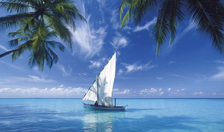 ocean, sailing, indian, over, яхта, море, computer, парусом, берегов, острова, тропического, лодка, maldives,