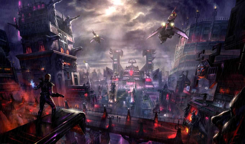 город, будущего, будущее, графика, art, другие,