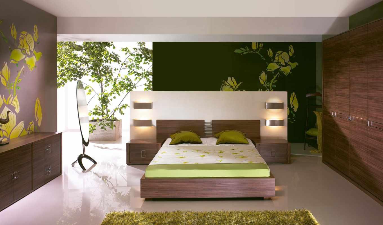 ,кровать, ковер, современный, спальня, зелень,