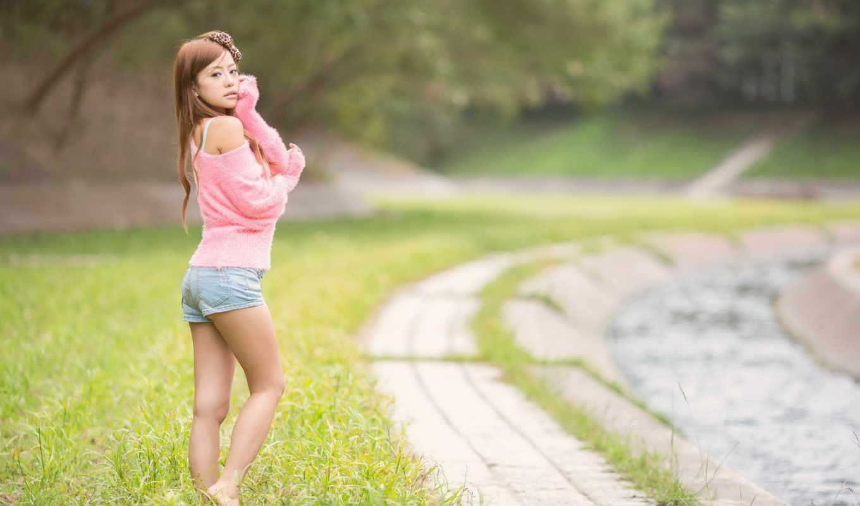 девушка, asian, трусы, girls, розовый, barefoot, рубашка, cute, blue,