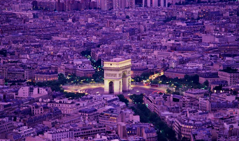 париж, франция, вечер,