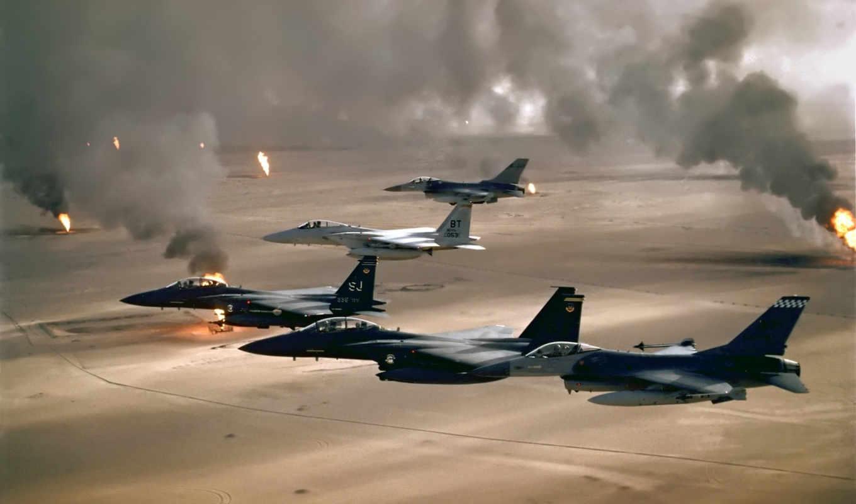 desert, jet, air, fighter, iraq, smoke, fields, free, aircraft, military, combat, storm,