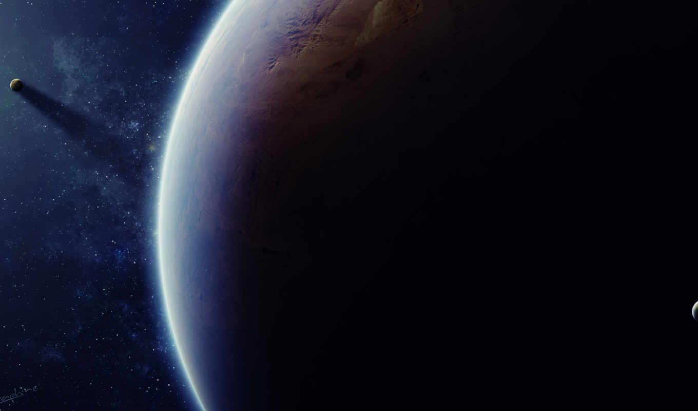 космос, планета, спутники, звезды, арт, картинка, картинку, мыши, кнопкой,