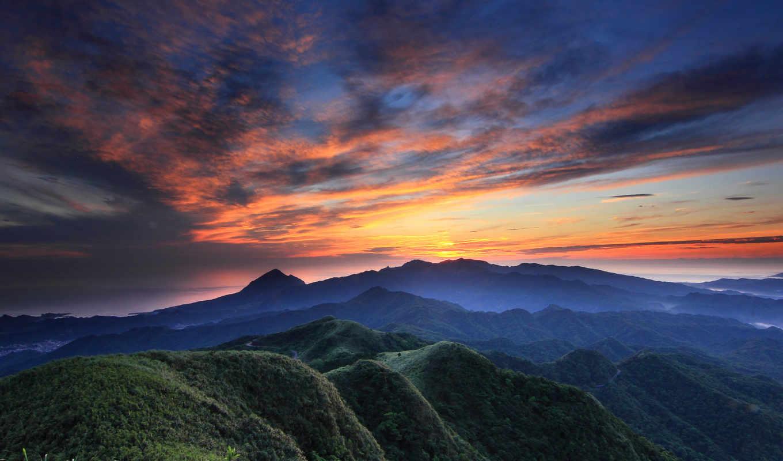 закат, вечер, горы, небо, синее, облака, оранжевый, холмы, вид, height,