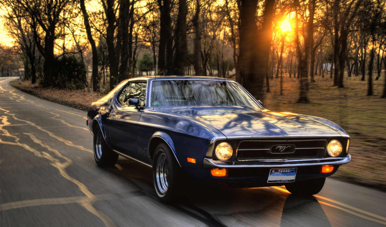 машина, закат, mustang, ford, скорость,