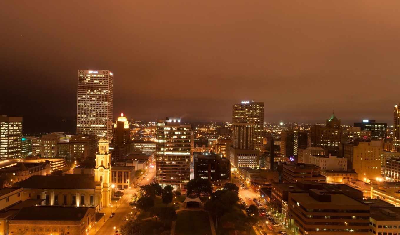город, здания, дома, небоскребы, ночь, панорама, огни, milwaukee, square, небо,