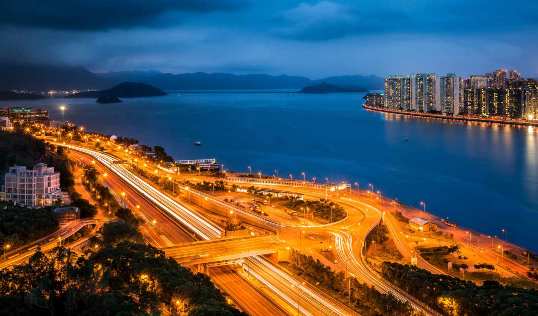 гавань, china, город, hong, kong, sha, дороги,