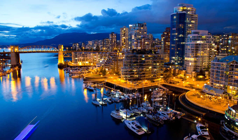 vancouver, города, канада, здания, город, ночь, огни,