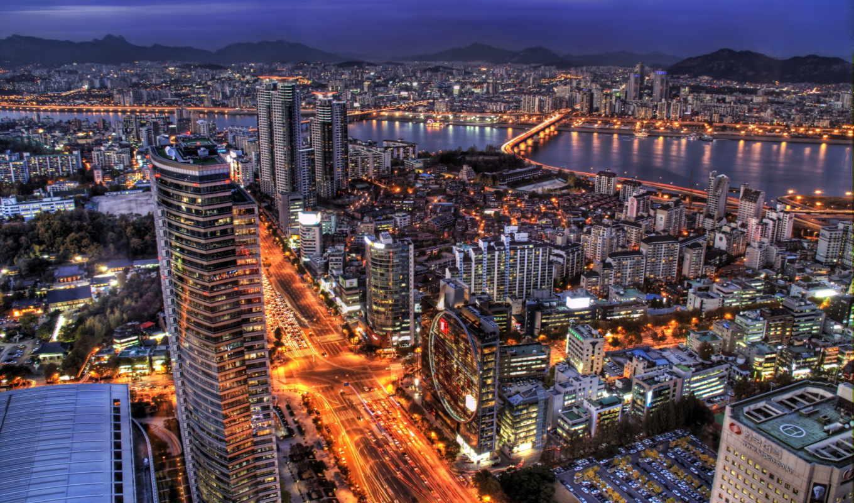 korea, южная, сеул, города, вечер,