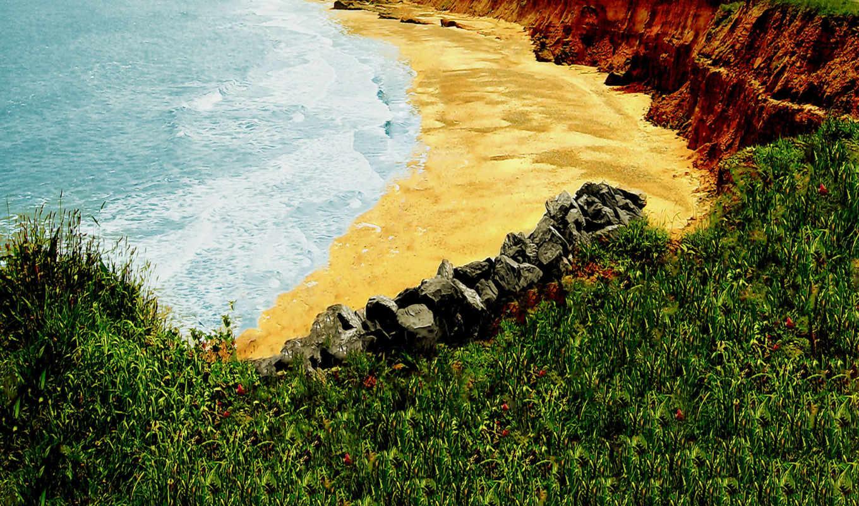 ,пляж,песок,трава,камни,обрыв,